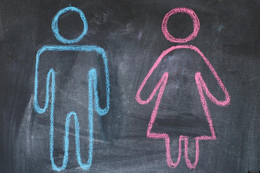 Figures of man and woman on a blackboard, chalk drawing; Shutterstock ID 98453501; PO: The Huffington Post; Job: The Huffington Post; Client: The Huffington Post; Other: The Huffington Post