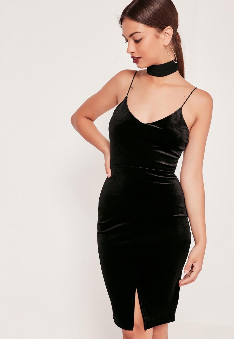 robe-velour-noire-missguided